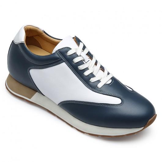 CHAMARIPA ผู้ชายรองเท้าลำลองที่จะทำให้คุณสูงขึ้น - รองเท้าหนังลำลอง - ขาว / น้ำเงิน - สูงกว่า 7 ซม