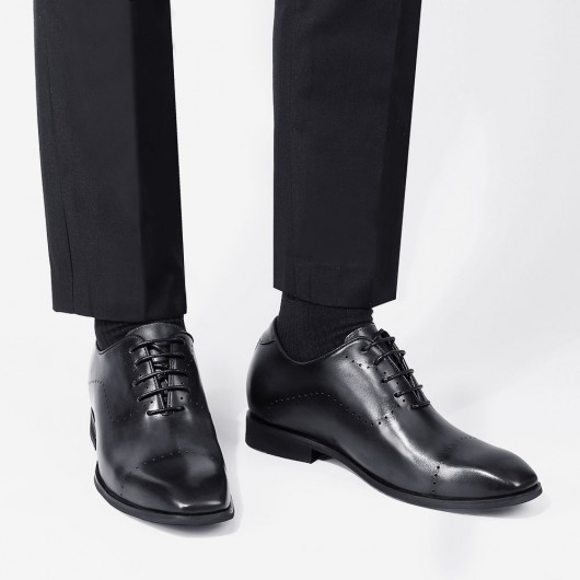 CHAMARIPA รองเท้าผู้ชาย รองเท้าเสริมส้น รองเท้าเสริมส้น ผู้ชาย รองเท้าหนังสีเทา สูง 7 ซม.