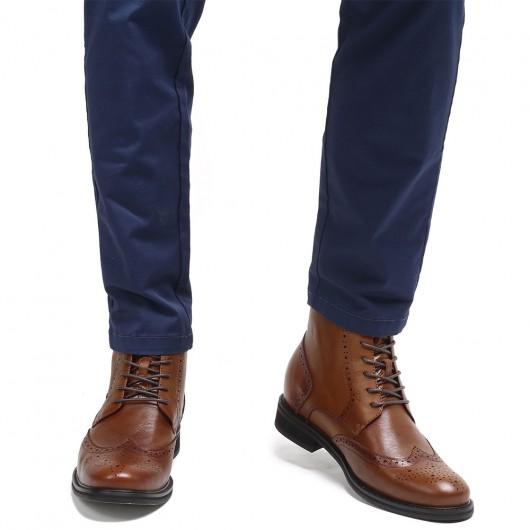CHAMARIPA รองเท้าบูทเพิ่มความสูงที่มองไม่เห็นรองเท้าบูทหนังสีน้ำตาลผู้ชาย 7 ซม