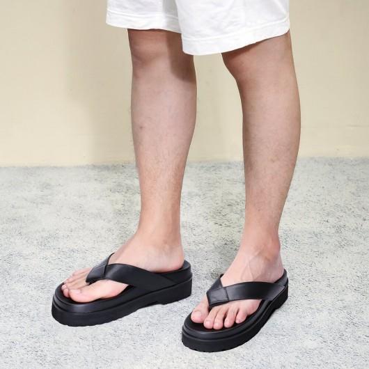 Chamaripa รองเท้าแตะลิฟท์หนังสีดำใส่สบายส้นสูงรองเท้าแตะคีบ 6 ซม