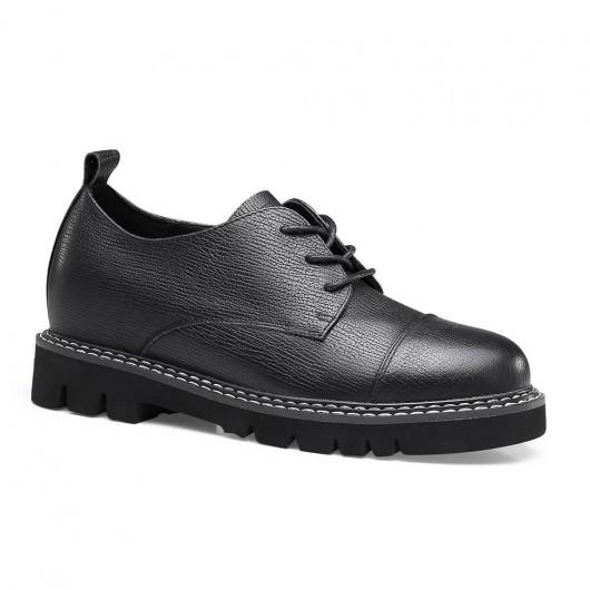 CHAMARIPA ลิฟท์รองเท้าผู้หญิงส้นซ่อนรองเท้าลำลองผู้หญิงหนังวัวสีดำ 7CM
