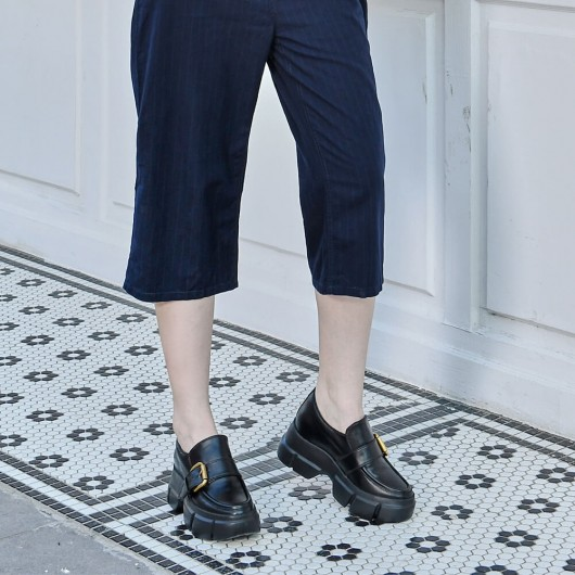 CHAMARIPA รองเท้าโลฟเฟอร์แบบลิฟท์ผู้หญิงเพิ่มความสูงสำหรับสุภาพสตรีหนังลูกวัวสีดำ 9CM