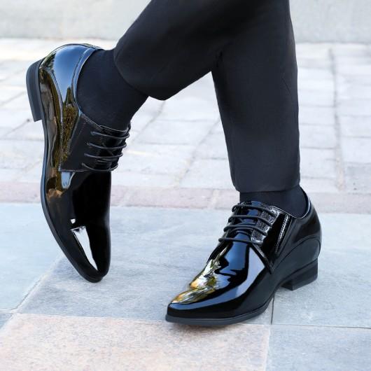 ผู้ชายรองเท้าที่เพิ่มความสูงสีดำทักซิโด้หนังสิทธิบัตรรองเท้าชุดผู้ชาย 8 เซนติเมตร