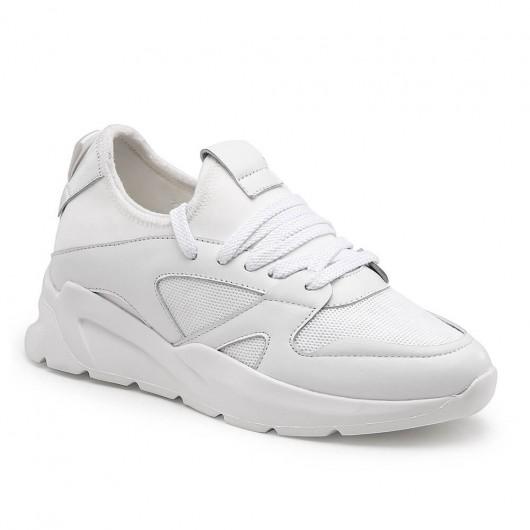 CHAMARIPA รองเท้าผ้าใบผู้หญิงเพิ่มส้นแบบซ่อนตาข่ายรองเท้ากีฬาสีขาว 7 ซม