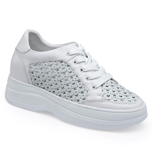 CHAMARIPA รองเท้าผ้าใบส้นเตารีด - รองเท้าผ้าใบส้นเตารีดหนังหุ้มส้นผู้หญิง - รองเท้าผ้าใบสีขาว / เขียวสำหรับผู้หญิง - สูง 8 ซม