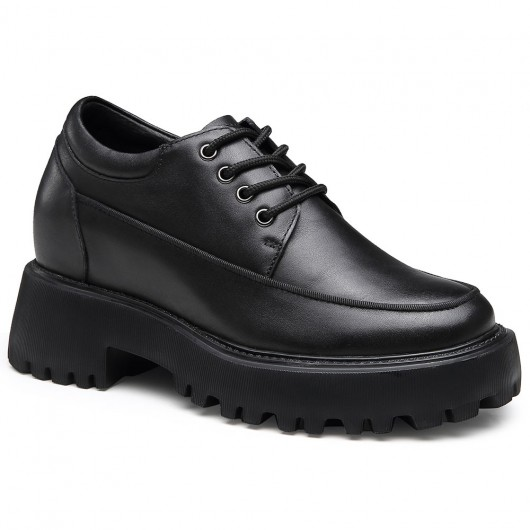 Chamaripa รองเท้าผ้าใบส้นเตารีดสีดำ - รองเท้าผ้าใบส้นเตารีดสำหรับผู้หญิง - รองเท้าลำลองหนังสูง 9 ซม