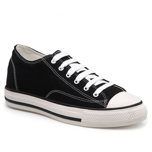 CHAMARIPA รองเท้าผ้าใบส้นเตารีดผู้หญิงผ้าใบรองเท้าผ้าใบส้นเตารีดสีดำสูง 5 ซม