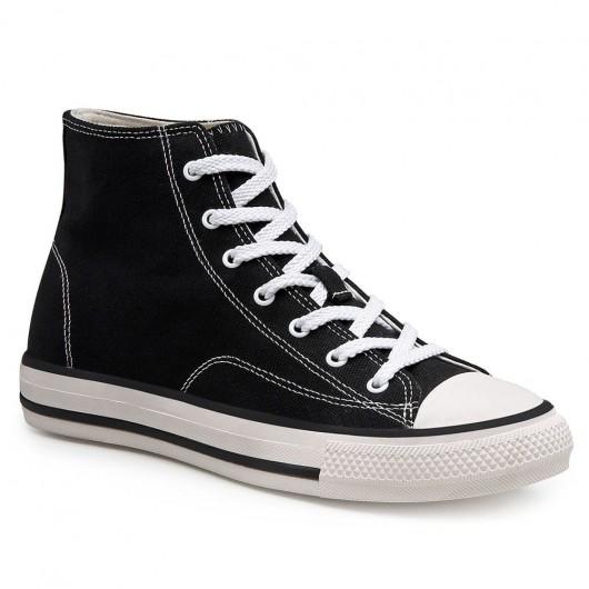 CHAMARIPA รองเท้าผ้าใบส้นสูงผู้หญิง - รองเท้าผ้าใบส้นเตารีดแฟชั่น - รองเท้าผ้าใบสีดำสูง 5 ซม