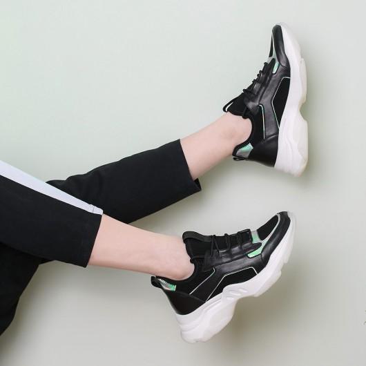 CHAMARIPA รองเท้าเทนนิสส้นเตารีดผ้ายืดหยุ่นสีดำรองเท้าผ้าใบผู้หญิงสูง 7 ซม