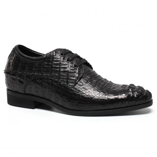 รองเท้าเพิ่มความสูง - รองเท้าหนังจระเข้ที่กำหนดเองรองเท้าส้นสูงรองเท้าส้นสูงผู้ชาย 7 ซม