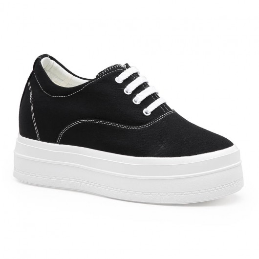 Chamaripa รองเท้าเพิ่มความสูงสำหรับผู้หญิงรองเท้าผ้าใบสีดำที่เพิ่มความสูง 8 ซม