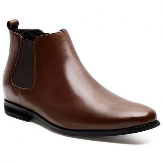 รองเท้าสูงสำหรับผู้ชายบูทเชลซีสีน้ำตาลขนาด 7 ซม