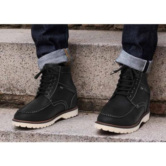 รองเท้าบูทหุ้มข้อสีดำซ่อนส้นสูงสำหรับผู้ชาย 9 ซม