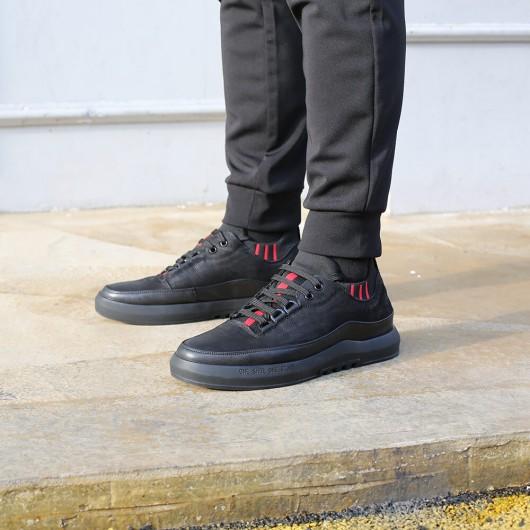 รองเท้าลิฟท์ - รองเท้าส้นสูงของผู้ชายรองเท้าซ่อนส้นสูงสำหรับผู้ชายรองเท้าลำลองลูกไม้ดำ 5 ซม