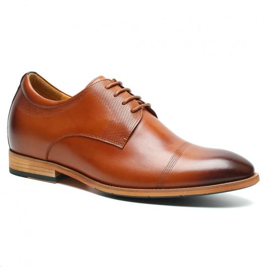 รองเท้าลิฟท์ - ผู้ชายรองเท้าผู้ชายสูงรองเท้าบุรุษที่มีความสูงน้ำตาล oxfords รองเท้าที่ทำให้คุณสูง 7 ซม