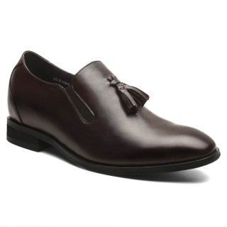Brown High Shoes for men Hidden Heel Loafer Shoes with Lifts 7 CM /2.76 Inches