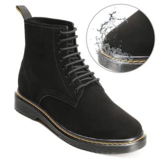 CHAMARIPA รองเท้าบูทเพิ่มความสูงรองเท้าบูทหนังนูบัคสีดำกันน้ำที่ทำให้คุณสูงขึ้น 8 ซม