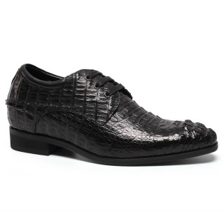 Custom Crocodile Grain Elevator Shoes Hidden High Heel Men Dress Shoes 7 CM /2.76 Inches