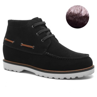 Height Increasing Boots Suede Leather Elevator Boots Plush Lining Winter Taller Boots 7 CM