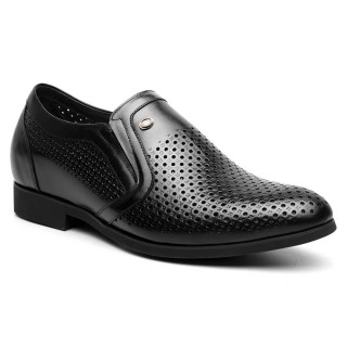 Summer Hidden Heel Sandals Perforated Height Raised Sandals Men Taller Shoes Black 6CM /2.36 Inches