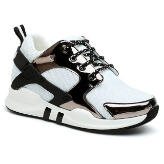 Women Elevator Shoes Hidden Heel Sneakers White Taller Shoes 7 CM/ 2.76 Inches