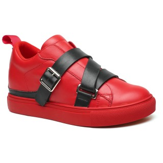 Women Elevator Shoes Casual Height Heel Shoes Red Lifting Shoes 7 CM / 2.76 Inches
