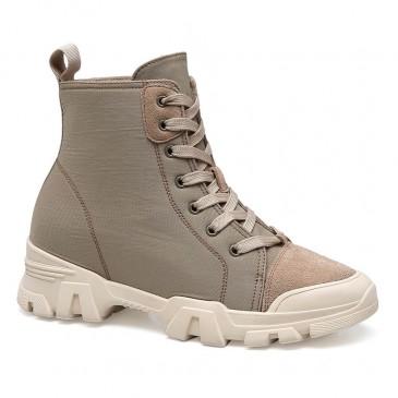 CHAMARIPA ลิฟท์เดินป่ารองเท้าผู้หญิงเพิ่มความสูงลูกไม้ขึ้นมาร์ตินรองเท้าผู้หญิงสีเบจรองเท้าผ้าใบผู้หญิง 7CM