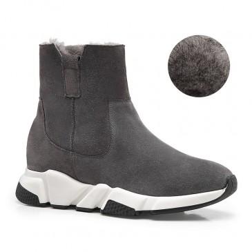 CHAMARIPA รองเท้าเพิ่มความสูงสำหรับสุภาพสตรีฤดูหนาวบวกกำมะหยี่อบอุ่นรองเท้าลิฟต์ผู้หญิงหนังกลับสีเทา 7CM