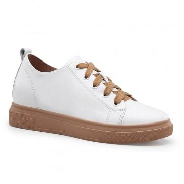 CHAMARIPA ลิฟท์ผู้หญิงรองเท้าลำลองลิฟท์รองเท้ารองเท้าผ้าใบผู้หญิงหนังวัวสีขาว 7CM