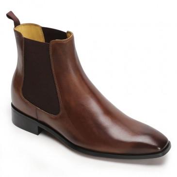 CHAMARIPA ลิฟท์รองเท้าผู้ชายเพิ่มความสูงรองเท้าชุดสีน้ำตาลรองเท้าเชลซี 7 ซม