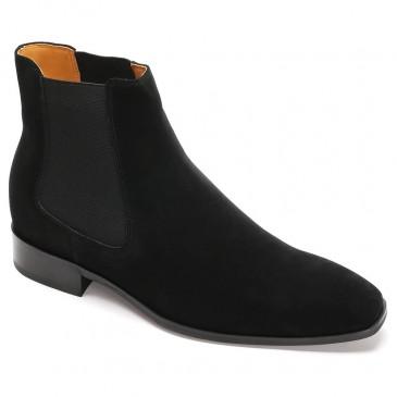 CHAMARIPA รองเท้าลิฟท์ผู้ชายทรงสูงสำหรับบุรุษรองเท้าหนังกลับสีดำขนาด 7 ซม