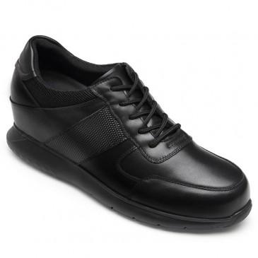 CHAMARIPA รองเท้าผ้าใบทรงลิฟต์สำหรับผู้ชายรองเท้าหนังแท้สีดำสูง 10 ซม