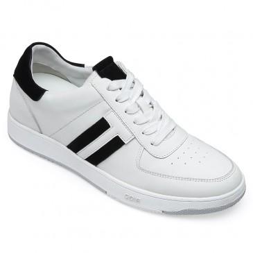 CHAMARIPA รองเท้าผ้าใบผู้ชายเพิ่มความสูงรองเท้าผ้าใบหนังสีขาวสำหรับผู้ชายสูง 6 ซม