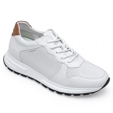 CHAMARIPA ผู้ชายซ่อนส้นเทรนเนอร์ลิฟท์รองเท้าสนีกเกอร์รองเท้าผ้าใบหนังสีขาวสูง 7 ซม