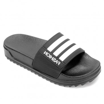 CHAMARIPA รองเท้าแตะผู้ชายเพิ่มความสูงรองเท้าแตะสีดำกันลื่นรองเท้าแตะกลางแจ้งในร่มสูง 4 ซม