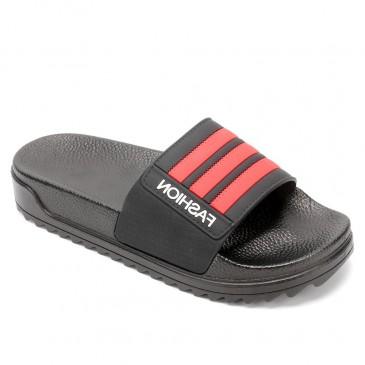 CHAMARIPA รองเท้าแตะผู้ชายเพิ่มความสูงรองเท้าแตะสีแดงกันลื่นรองเท้าแตะกลางแจ้งในร่มสูง 4 ซม