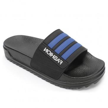 CHAMARIPA รองเท้าแตะผู้ชายเพิ่มความสูงรองเท้าแตะสีฟ้ากันลื่นรองเท้าแตะกลางแจ้งในร่มสูง 4 ซม