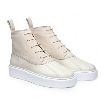 CHAMARIPA รองเท้าสนีกเกอร์ส้นเตารีดผู้หญิง - รองเท้าผ้าใบส้นสูง - รองเท้าบูทหนังกลับสีเบจสูง 7 ซม