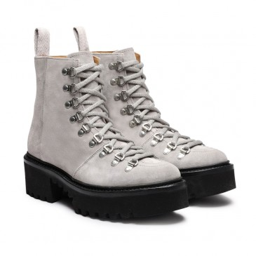 CHAMARIPA รองเท้าส้นเตารีด - รองเท้าส้นตึกสำหรับผู้หญิง - รองเท้าส้นตึกหนังกลับสีเทาผู้หญิงสูง 8 ซม