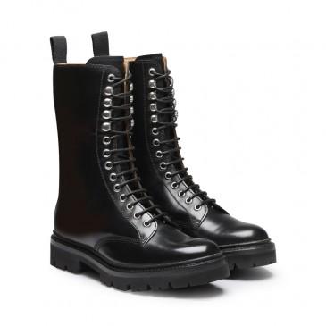 CHAMARIPA รองเท้าส้นเตารีดซิปสำหรับผู้หญิง - รองเท้าส้นเตารีดสีดำ - รองเท้าบูทดาร์บี้สูงแบบหนังผู้หญิงสูง 7 ซม