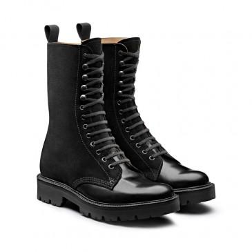 CHAMARIPA รองเท้าส้นเตารีดผู้หญิง - รองเท้าบูทส้นเตารีดสีดำ - รองเท้าบูทดาร์บี้หนังอ้วนสูง 7 ซม