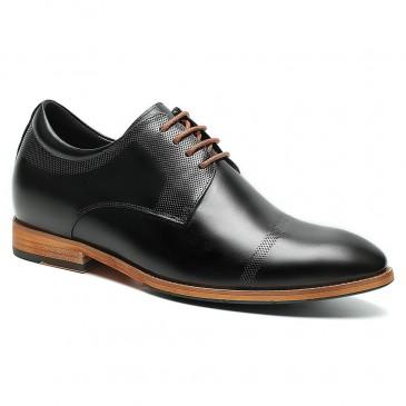 รองเท้าลิฟท์ - รองเท้าที่เพิ่มความสูงสำหรับบุรุษรองเท้าที่มีความสูงรองเท้าหนังสีดำสูง 6 ซม