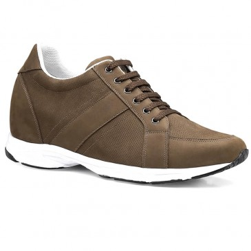 CHAMARIPA ชายสูงรองเท้าระบายอากาศลิฟท์รองเท้ากีฬาสีกากีนูบัครองเท้าหนังสูง 7 ซม