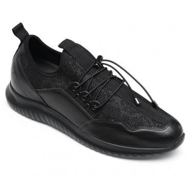 CHAMARIPA รองเท้าวิ่งลิฟท์รองเท้าแข็งแรงรองเท้าผ้าใบสีดำสูง 7 ซม