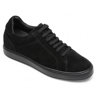 CHAMARIPA รองเท้าลิฟต์ลำลองสำหรับผู้ชายรองเท้าหนังนูบัคสีดำที่ทำให้คุณสูงขึ้น 7 ซม