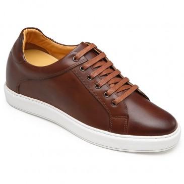 CHAMARIPA รองเท้ายกระดับสำหรับผู้ชายหนังสีน้ำตาลรองเท้าผ้าใบเพิ่มความสูง 7 ซม