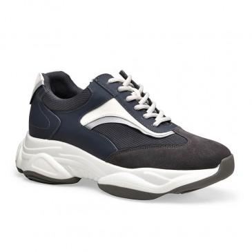 Chamaripa ความสูงที่เพิ่มขึ้นรองเท้าสีเทาเข้มตาข่ายก้อนรองเท้าผ้าใบรองเท้าที่ทำให้คุณสูง 8.5 เซนติเมตร /3.35 นิ้ว