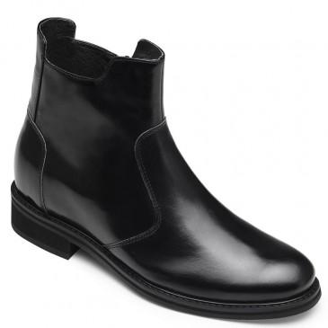 CHAMARIPA รองเท้าบูทสำหรับผู้ชายรองเท้าเชลซีพร้อมรองเท้าส้นสูงแบบซ่อนรองเท้าหนังสีดำ 7 ซม