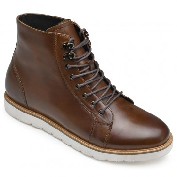 CHAMARIPA รองเท้าบูทเพิ่มความสูงรองเท้าหนังสีน้ำตาลที่ทำให้คุณสูงขึ้น 7 ซม