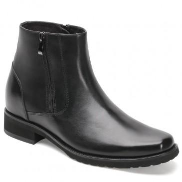 รองเท้าบูท CHAMARIPA สำหรับผู้ชายหนังสีดำมีซิปข้างรองเท้าสูง 8 ซม
